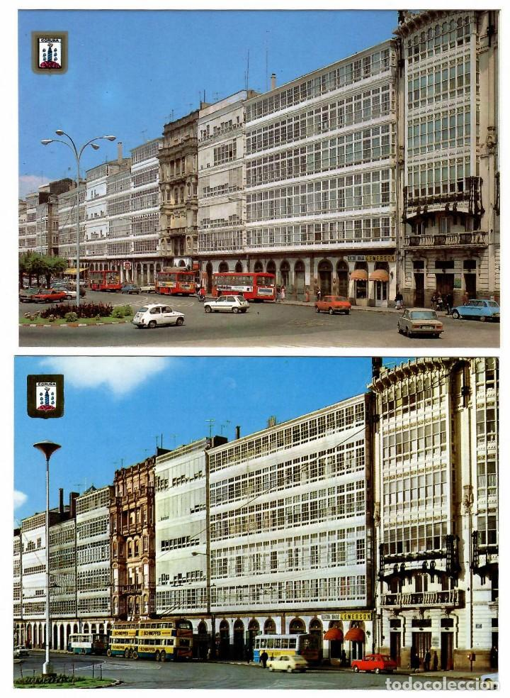 CORUÑA, GALERÍAS DE LA MARINA. 2 POSTALES ED. DOMÚNGUEZ (1971 Y 1975). COCHES Y AUTOBUSES ÉPOCA. (Postales - España - Galicia Moderna (desde 1940))