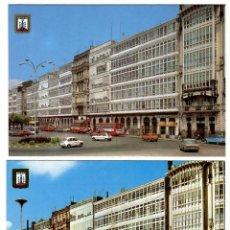 Postales: CORUÑA, GALERÍAS DE LA MARINA. 2 POSTALES ED. DOMÚNGUEZ (1971 Y 1975). COCHES Y AUTOBUSES ÉPOCA.. Lote 269501428