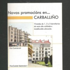 Postales: TARJETA POSTAL PUBLICITARIA PISOS EN CARBALLIÑO. Lote 270416268