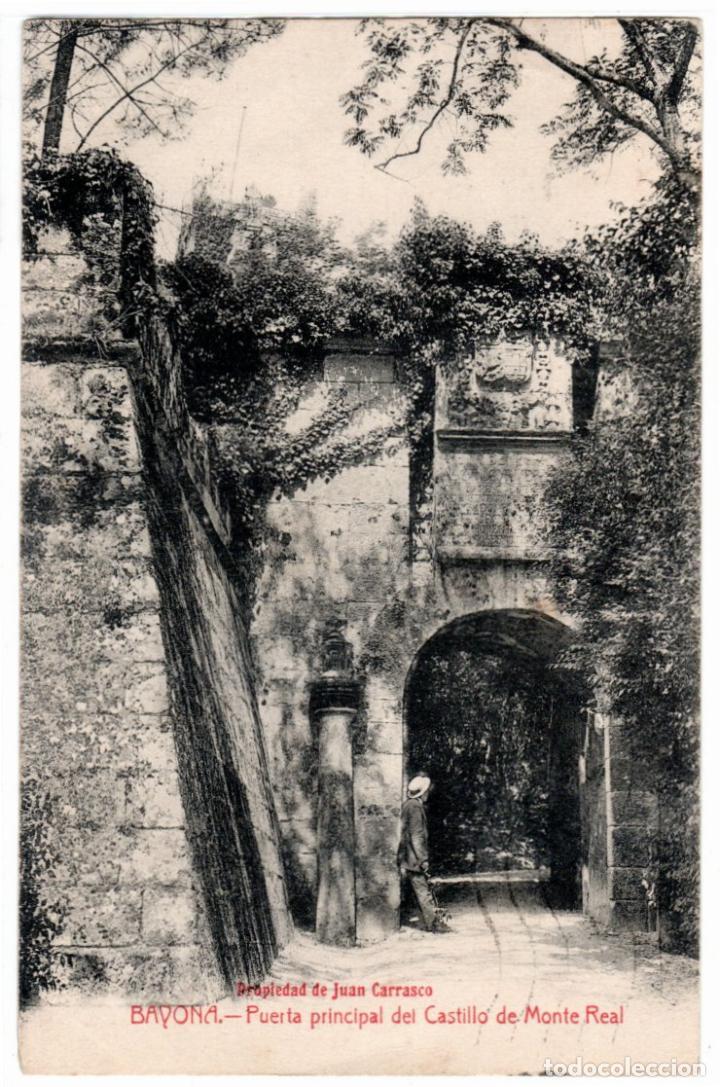 BONITA POSTAL - BAYONA (GALICIA) - PUERTA PRINCIPAL DEL CASTILLO DE MONTE REAL - PROP. JUAN CARRASCO (Postales - España - Galicia Antigua (hasta 1939))