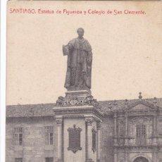 Postales: LA CORUÑA, SANTIAGO DE COMPOSTELA ESTATUA FIGUEROA COLEGIO CLEMENTE. ED. THOMAS. CIRCULADA EN 1908. Lote 293500838