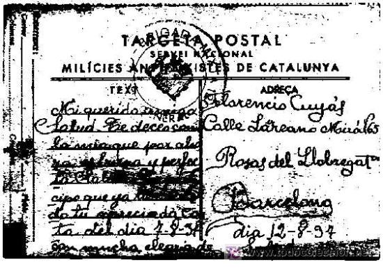 TARGETA POSTAL SERVEI NACIONAL MILICIES ANTIFEIXISTES DE CATALUNYA, DATA 12-8-1937 (Postales - Postales Temáticas - Guerra Civil Española)