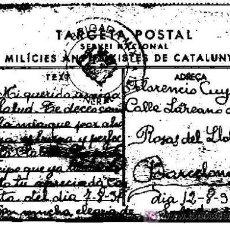 Postales: TARGETA POSTAL SERVEI NACIONAL MILICIES ANTIFEIXISTES DE CATALUNYA, DATA 12-8-1937. Lote 5181046