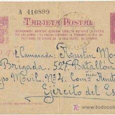 Postales: GUERRA CIVIL. POSTAL ENVIADA A UN SOLDADO DEL EJÉRCITO REPUBLICANO. EJÉRCITO DEL ESTE. Lote 5534065