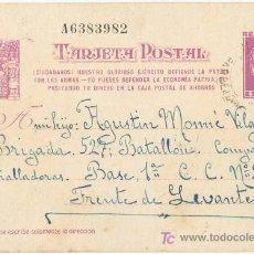 Postales: GUERRA CIVIL. POSTAL ENVIADA A UN SOLDADO DEL EJÉRCITO REPUBLICANO. EJÉRCITO DE LEVANTE. Lote 5534090