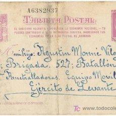 Postales: GUERRA CIVIL. POSTAL ENVIADA A UN SOLDADO DEL EJÉRCITO REPUBLICANO. EJÉRCITO DE LEVANTE. Lote 5534091