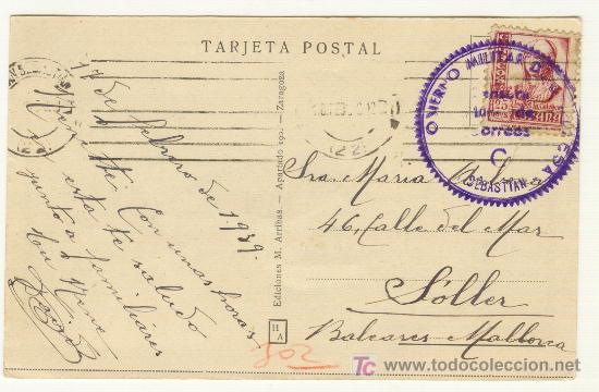 POSTAL DEL 17 FEBRERO DE 1939 DE SAN SEBASTIÁN A SÓLLER MALLORCA CUERPO MILITAR (Postales - Postales Temáticas - Guerra Civil Española)