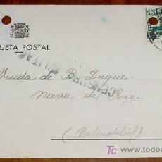 Postales: ANTIGUA TARJETA POSTAL, GUERRA CIVIL - SELLO DE CENSURA MILITAR DE VALLADOLID - CIRCULADA EN 1937 - . Lote 7530521