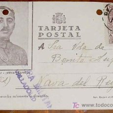 Postales: ANTIGUA TARJETA POSTAL PATRIOTICA, FRANCO, GUERRA CIVIL - SELLO DE CENSURA MILITAR DE VALLADOLID - C. Lote 13736008