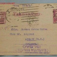 Postales: TARJETA CENSURA MILITAR. Lote 18043460