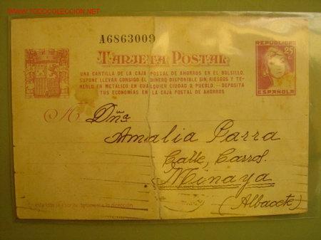 BARCELONA 20-8-1938 - DESTINO DE LA POSTAL : MINAYA (ALBACETE) (Postales - Postales Temáticas - Guerra Civil Española)