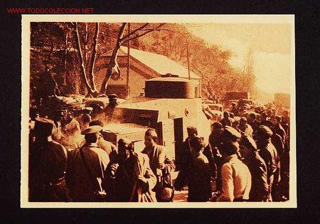 POSTAL DE LA GUERRA CIVIL: EL PERTUS: UN TANQUE PASANDO LA FRONTERA (ANIMADA) (Postales - Postales Temáticas - Guerra Civil Española)
