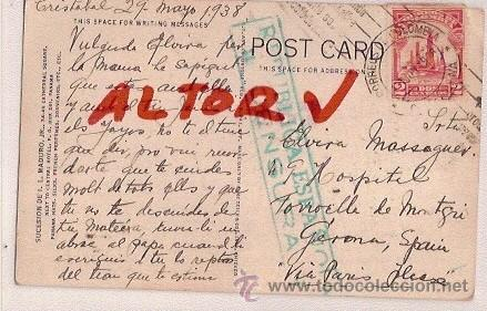 ANTIGUA POSTAL CIRCULADA DE COLOMBIA A TORROELLA DE MONTGRI CENSURA REPUBLICA ESPAÑOLA 1938 (Postales - Postales Temáticas - Guerra Civil Española)