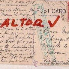 Postales: ANTIGUA POSTAL CIRCULADA DE COLOMBIA A TORROELLA DE MONTGRI CENSURA REPUBLICA ESPAÑOLA 1938. Lote 12517172