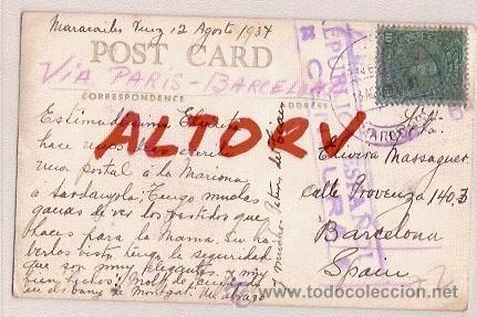 Postales: POST CARD CIRCULADA DE VENEZUELA MARACAIBO VIA PARIS A BARCELONA CENSURA REPUBLICA ESPAÑOLA - Foto 1 - 12517257