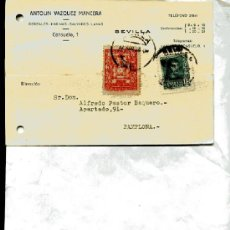 Postcards - POSTAL COMERCIAL ANTOLIN VAZQUEZ de SEVILLA GUERRA CIVIL perforada, CIRCULADO abril 1938 - 12986389