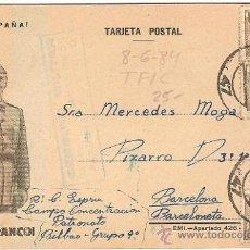Postales: 4435-TARJETA POSTAL CAMPO DE CONCENTRACIÓN PATRONATO- CENSU Y CIRC DE BILBAO A BCN- 1939. Lote 24606055