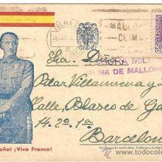 Postales: 4454-TARJETA VIVA ESPAÑA,VIVA FRANCO- CIRC DE MALLORCA A BCN- CENSURA MILITAR 1939. Lote 26917303