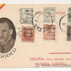Postales: POSTAL GENERAL GODED. CIRCULADA. ED. JUAN MARRA. MALAGA MATASELLOS 10 DE MAYO DEL 37. . Lote 16045022