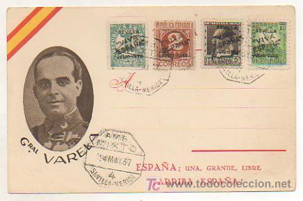 POSTAL GENERAL VARELA. ED. JUAN MARRA. MATASELLOS 1937 AMBULANTE MIXTO SEVILLA - MERIDA. (Postales - Postales Temáticas - Guerra Civil Española)