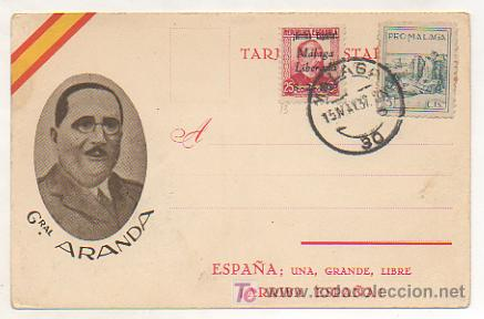 POSTAL GENERAL ARANDA. ED. JUAN MARRA. MATASELLOS 1937 MALAGA. (Postales - Postales Temáticas - Guerra Civil Española)