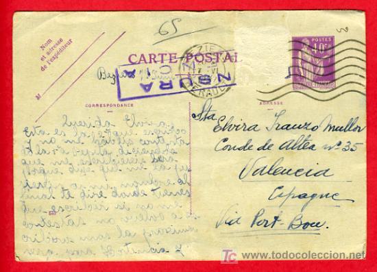 POSTAL GUERRA CIVIL , CENSURA MILITAR , FRANCIA , P43 (Postales - Postales Temáticas - Guerra Civil Española)