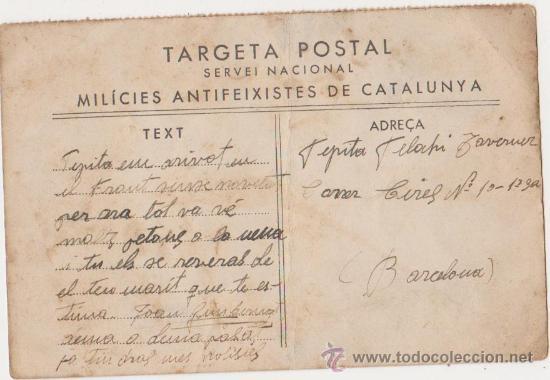 TARGETA POSTAL SERVEI NACIONAL MILICIES ANTIFEIXISTES DE CATALUNYA (Postales - Postales Temáticas - Guerra Civil Española)