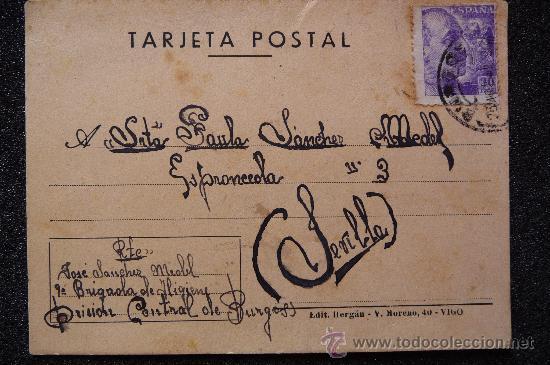 (JX-543)TARJETA POSTAL ENVIADA DESDE LA LA PRISION CENTRAL DE BURGOS 9ªBRIGADA DE HIGIENE (Postales - Postales Temáticas - Guerra Civil Española)