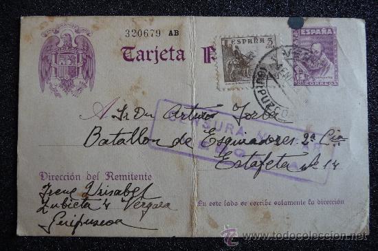 (JX-623)TARJETA POSTAL DE CAMPAÑA BATALLON DE ESQUIADORES CON CENSURA DE VERGARA-GUERRA CIVIL (Postales - Postales Temáticas - Guerra Civil Española)