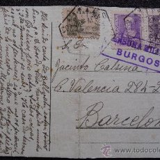 Postales: (JX-702)TARJETA POSTAL ENVIADA DESDE BURGOS A BARCELONA CON CENSURA MILITAR-GUERRA CIVIL. Lote 27941595