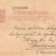 Postales: TARJETA ENVIADA EL 1 DE JUNIO DE 1938.DESDE FALSET(TARRAGONA) A CARTAGENA (MURCIA). Lote 27975988