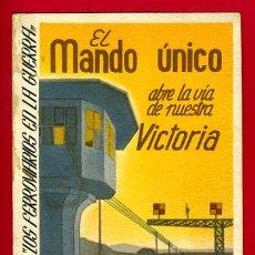 Postales: POSTAL GUERRA CIVIL , EXPOSICION LOS FERROCARRILES EN LA GUERRA, EL MANDO UNICO VICTORIA , ORIGINAL. Lote 29295474