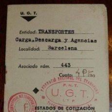 Postales: ANTIGUO CARNET DE GUERRA CIVIL, FEDERACION REGIONAL DE TRANSPORTE F.N.T. - U.GT. - I.T.F. ESTADOS DE. Lote 29304020