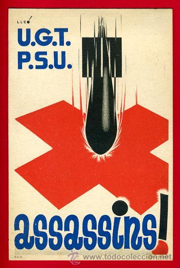 POSTAL GUERRA CIVIL ESPAÑOLA, UGT PSU , ASSASSINS ! , ORIGINAL (Postales - Postales Temáticas - Guerra Civil Española)
