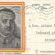 Postales: PS1867 POSTAL FRANQUISTA. FOTO ED. ALFONSO. CIRCULADA ENTRE ZARAGOZA Y BILBAO EN 1937. Lote 30143203