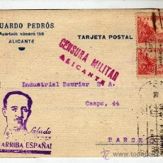 Postales: POSTAL ALICANTE 1939 CON CENSURA MILITAR. Lote 32584681