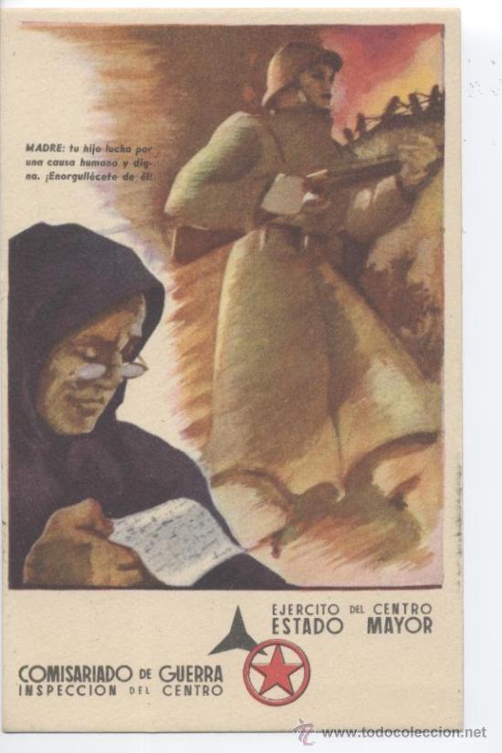TARJETA POSTAL DE CAMPAÑA. COMISARIADO DE GUERRA. EJERCITO DEL CENTRO.REPÚBLICA. CIRCULADA 1938. (Postales - Postales Temáticas - Guerra Civil Española)