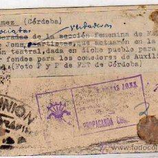 Postales: BELMEZ CORDOBA. ARTISTAS SECCION FEMENINA, RECAUDAR FONDOS COMEDORES AUXILIO SOCIAL.. Lote 33493469