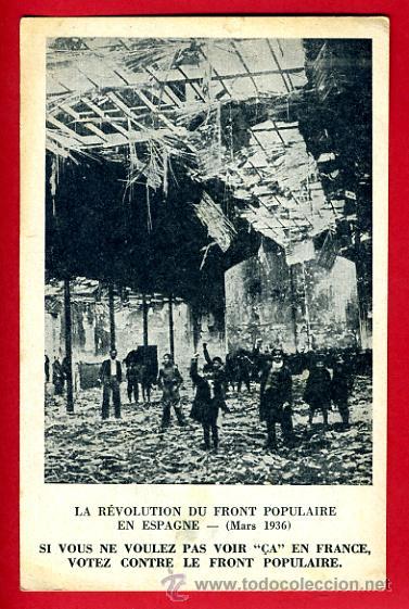 POSTAL GUERRA CIVIL, REVOLUCION FRENTE POPULAR INCENDIO PUENTE VALLECAS MADRID , ORIGINAL (Postales - Postales Temáticas - Guerra Civil Española)