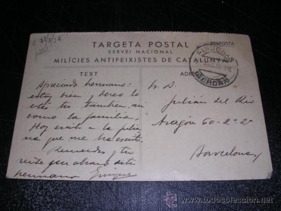 TARGETA POSTAL SERVEI NACIONAL MILICIES ANTIFEIXISTES DE CATALUNYA 28/8/1936 (Postales - Postales Temáticas - Guerra Civil Española)