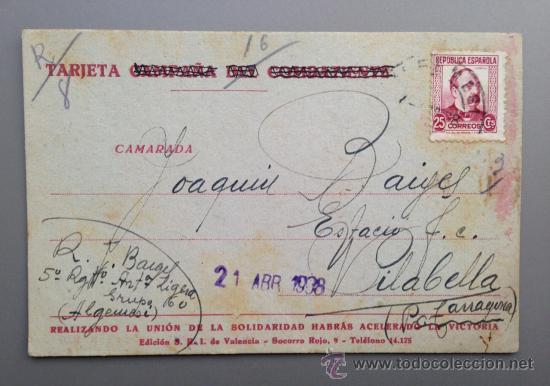 TARJETA POSTAL CAMPAÑA GUERRA CIVIL. COMITÉ SRI VALENCIA 1938. ALGEMESÍ A VILABELLA 5º REGIMIENTO (Postales - Postales Temáticas - Guerra Civil Española)