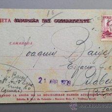 Postales: TARJETA POSTAL CAMPAÑA GUERRA CIVIL. COMITÉ SRI VALENCIA 1938. ALGEMESÍ A VILABELLA 5º REGIMIENTO. Lote 36542150