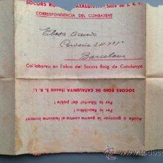 Postales: SOBRE CARTA S.R.I. ILUSTRADO CORRESPONDENCIA DEL COMBATIENTE. SOCORS ROIG DE CATALUNYA GUERRA CIVIL. Lote 36543442