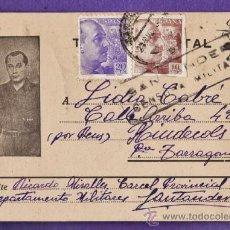 Postales: TARJETA POSTAL - CON CENSURA - R.MIRALLES / SANTANDER A L.CABRE / RIUDECOLS - AÑO 1939. Lote 36650421