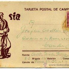 Postales: POSTAL GUERRA CIVIL DEL SIA, CIRCULADA DESDE EL FRENTE A GANDÍA EL 9 DE MARZO DE 1939. 81 BRIGADA. Lote 37114710