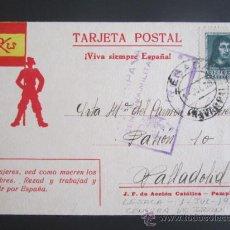 Postales: GUERRA CIVIL. POSTAL VIVA SIEMPRE ESPAÑA. CENSURA DE IRÚN. 1938. Lote 210187111