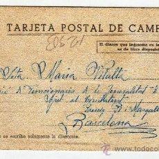 Postales: POSTAL DE CAMPAÑA FUNCIONARIOS GENERALITAT DE CATALUNYA 1938. Lote 37612690