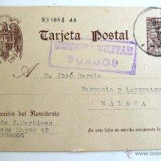 Postales: TARJETA POSTAL CIRCULADA Y FRANQUEADA CON CENSURA MILITAR DE BURGOS. 1939.. Lote 39662391
