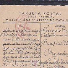 Postales: POSTAL ORIGINAL GUERRA CIVIL MILICIES ANTIFEIXISTES DE CATALUNYA . Lote 40229943