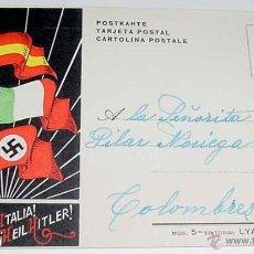 Postales: ANTIGUA POSTAL PLENA GUERRA CIVIL . VIVA ESPAÑA, VIVA L´ITALIA, HEIL HITLER - MOD. 5 EDITORIAL LYA, . Lote 38249613